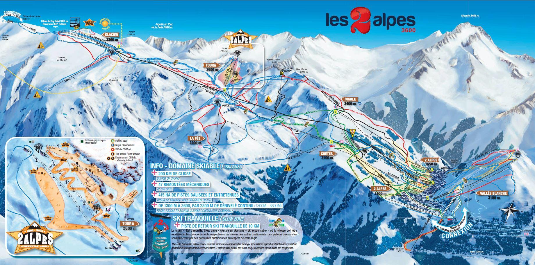 Les deux Alpes plan pistes